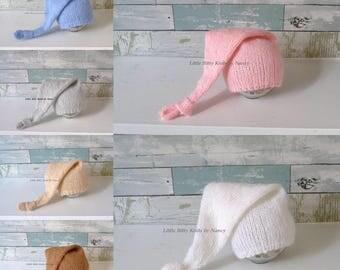 Ready to ship, Knot Hat,  Newborn Hat, Elf Hat, Baby Hat, Newborn Photo Prop, Free Shipping