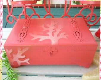 Vintage Treasure Box, Upcycled Handpainted Wooden Box, Decorative Box, Jewelry Box, Beach Decor, Seashore, Repurposed