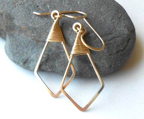 Gold Dangle Earrings, Gold Filled Geometric, Minimal Wire Earrings, Lighweight Everyday Earrings