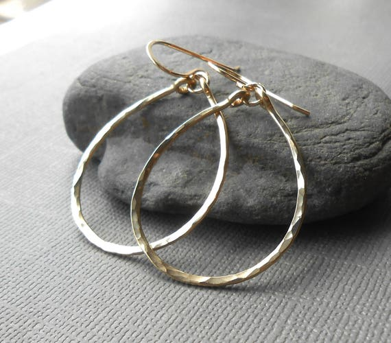 Hammered Gold Hoop Earrings, Dangle Hoops, Gold Filled Oval Hoop, Simple Gold Earrings, Wire Jewelry