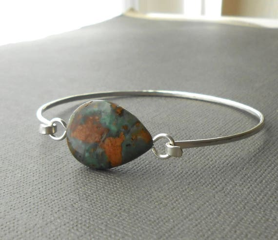 Green Opal Bracelet, Sterling Silver Gemstone Bangle, Wire Bracelet