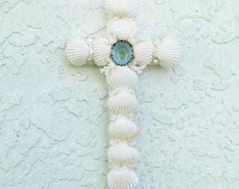 Seashell Cross, Shell Crucifix, White Aqua Blue Cross, Crucifix with Shells, Religious Christian Gift, New Baby Baptism Gift, OOAK Cross