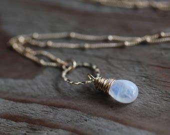 Hammered Circle Rainbow Moonstone Gold Gemstone Necklace. Satellite Chain Necklace. Blue Purple. Minimalist. Simple. Handmade on Maui