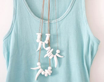 Statement Necklace, Bones Necklace, Tooth Necklace, White Modern Necklace, Polymer Clay Necklace, Nature Necklace, Summer Necklace