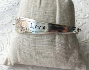 Love stamped spoon handle word bracelet