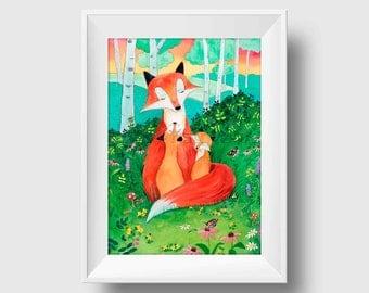 Fox Print - Woodland Nursery- Fox Wall Art - Fox - Nursery Decor - Watercolor print