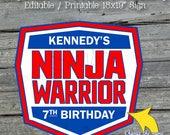 Ninja Backdrop | Ninja themed printable badge sign | red white and blue | dessert table instant download