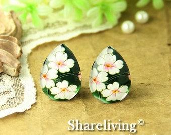 SALE - 30% OFF 4pcs 18x25mm Handmade Photo Teardrop Glass Cabs Cabochons ( Flower )  -- BCH959Q