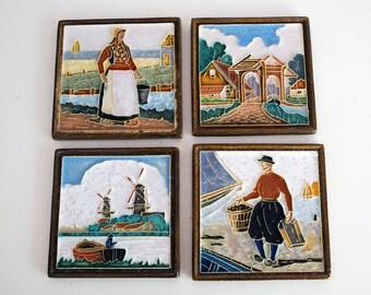 Royal Delft Cloisonne Tiles, De Porceleyne Fles, Polychrome Art Pottery, Dutch Windmills Costumes, Polychrome Delft Trivets