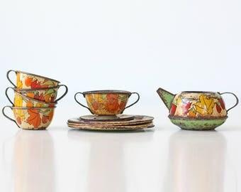 Vintage Tea Set, Ohio Art, Fall Leaves, Squirrel, Tin Litho