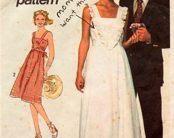 Christmas in July Vintage 1970s Sewing Pattern Simplicity 7869  Misses' SunDress  Size 14 Bust 36 Uncut Complete