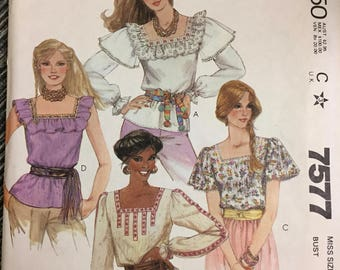 1980's McCall's 7577 Misses' Pullover Peasant tops  Bust 32 Inches  Complete Sewing Pattern