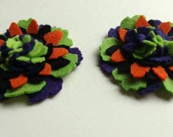 Pair Lime Purple Orange and Black Felt Flowers,  Wool Felt Flowers, DIY Flowers, Felt Flower Embellishments, Felt Hair Supplies, 3D Flowers