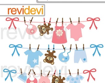 50% OFF SALE Baby clothesline clipart - hanging baby clothes and teddy bear clipart - pink blue - digital images - instant download