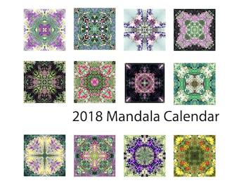 2018 Mandala Calendar, 5 x 7 Desk Calendar,  2018 Zen Calendar, Garden Flower Desk Calendar, Stocking Stuffer