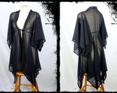 Black Chiffon Pixie Hem Kimono Jacket , Size Small - Ready to Ship - Gothic Witch Occult Ghost Cloak Tunic