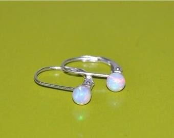 Australian Opal Dangle Earrings, 4mm Opal Stones, Sterling Silver Leverback Earwires, Opal Jewelry, 925 Sterling Silver