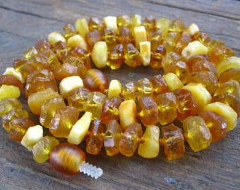 Baltic Amber beads organic rough cut 15 inches - heishe style - center drilled