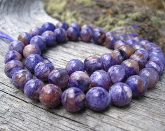 Charoite beads 7mm AAA Rounds - natural semiprecious stone beads - jewelry supplies 15 inches