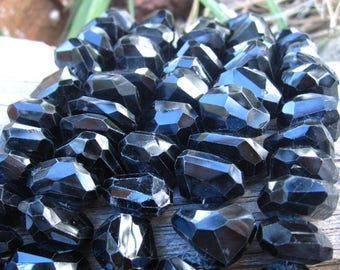 Black Spinel beads AAA Chunky Nugget Organic 8 inch strand