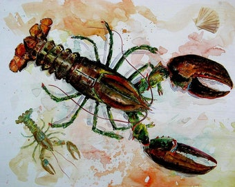 LOBSTER and BABY Watercolor Art Print 8x10 Maine New England Beach Decor by Barry Singer