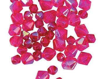 Fuchsia Aurora Borealis Cut Crystal Bicone Beads, 4mm to 6mm, pack of 48