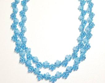aqua ab crystal necklace,beaded aqua crystal necklace,beaded long necklace,handmade beaded crystal necklace,edwardian style crystal necklace
