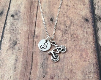 Bicycle initial necklace - bike jewelry, gift for cyclist, triathlon necklace, cyclist necklace, bike necklace, bicycle pendant necklace