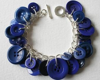 Button Bracelet Navy Blue Mix