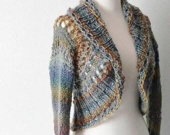 First Fall Sale - 15% Off Mandala Sweater - Festival Cardigan - Horizon Blue, Sunset Orange, Salmon, Sage Green. Lace Slightly Cropped Festi