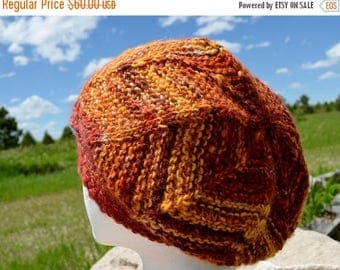 First Fall Sale - 15% Off ALBUQUERQUE handspun hand knit wool blend hat in fiery autumn colors - merino wool based - soft - textured knit ta