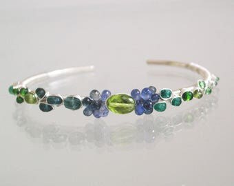 Sapphire and Peridot Cuff, Argentium Sterling Silver, Stackable Bracelet, Blues and Greens, Ocean Jewels, Artisan Made, Hand Wrought
