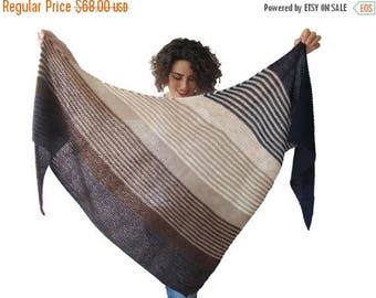20% WINTER SALE Hand Knitted Triangle Shawl Brown Navy Blue Beige
