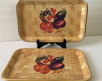 Vintage Bamboo Serving Tray For Appetizers Harvest Vegetable Design Set Of  Two Gold Rim Flower Bohemian