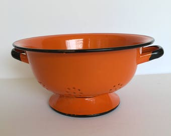 Bright Orange Polish Enamel Kitchen Colander Strainer European Enamelware Cottage Kitchen