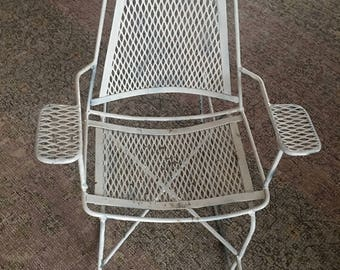 Salterini Childs Size Reticulated Wrought Iron Steel Rocking Chair Garden Chair Mid Century 1950's 196's