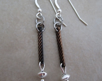 life is what you make it earrings oxidized copper sterling silver stainless steel