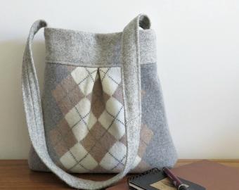 Gray Argyle BELLA Handbag, Upcycled Wool Sweater Purse, Shoulder Bag