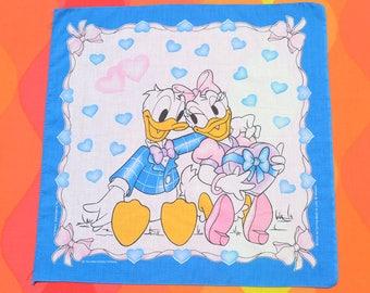 80s vintage bandana scarf DONALD DUCK daisy disney bandanna handkerchief