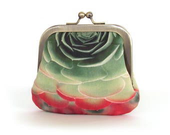 Succulent coin & card purse, cacti pouch, green, red plant petals