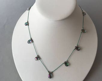 Mystic Quartz Necklace, Tin Cup Style, Silver beads, Silk