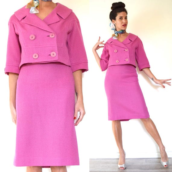 Vintage 50s 60s Carnation Pink Tweed Cropped Jacket and Pencil Skirt 2 Piece Suit (size xs, small)
