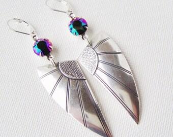 SALE Art deco wing rhinestone earrings / leverback earrings / gift for her / scarabaeus green / silver wing earrings / rainbow rhinestone