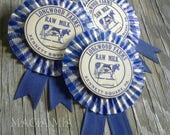 3 Gingham Dairy Cap Prize Ribbon Ornaments Rosettes Medallion Blue White Farmhouse Fair Upcycled Milk Bottle Caps, HandMade