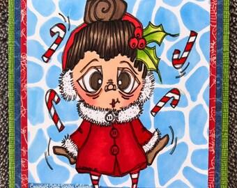 1884 Christmas Lady Digi Stamp