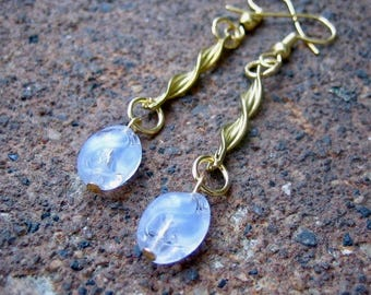 Eco-Friendly Dangle Earrings for Pierced Ears - Veil of Tears - Recycled Vintage Twisted Goldtone Metal Finding and Pale Blue Glass Beads