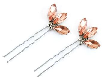 Pink Lotus Rhinestone Hair Pins - Pink Crystal Hair Pins, Pink Wedding Hair Accessories