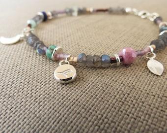 Charm Bracelet, Beaded Bracelet, Sterling Silver Stacking Bracelet, Colorful, Gypsy Jewelry, Multistone Bracelet, Gemstone Bracelet
