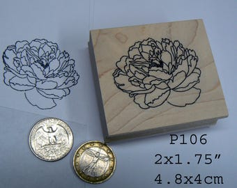 P106 Small peony flower rubber stamp