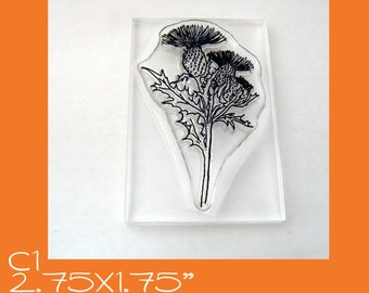 C1 Thistle flower clear mounted stamp